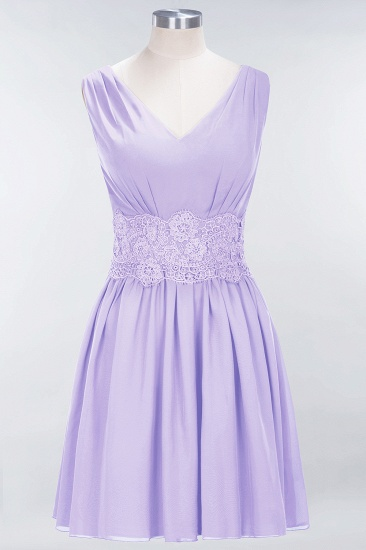 Pretty V-Neck Short Sleeveless Lace Bridesmaid Dresses Online_21