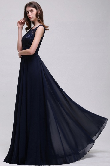 Vintage Lace Scoop Sleeveless Dark Blue Bridesmaid Dress with V-Back_5