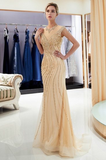 BMbridal Elegant Mermaid Jewel Long Gold Prom Dresses Sleeveless Evening Gowns with Rhinestones_4