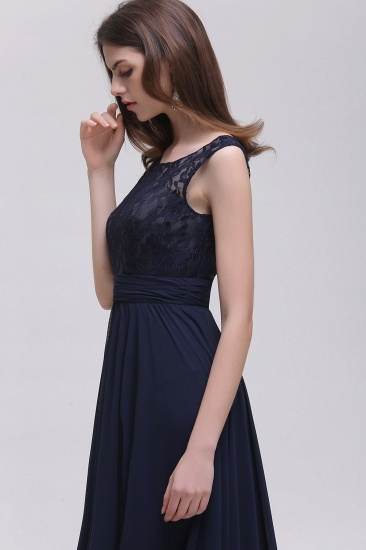 Vintage Lace Scoop Sleeveless Dark Blue Bridesmaid Dress with V-Back_6