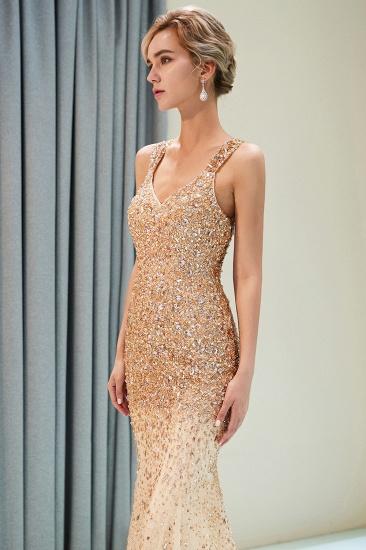 Glamorous V-Neck Rhinestones Prom Dress Long Mermaid Evening Gowns_7