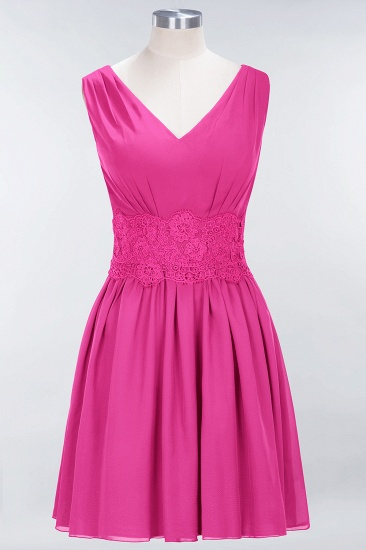 Pretty V-Neck Short Sleeveless Lace Bridesmaid Dresses Online_9