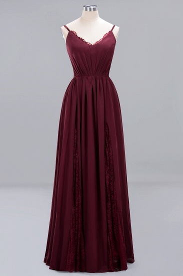 Elegant Spaghetti Straps Long Bridesmaid Dress Lace V-Neck Maid of Honor Dress_54