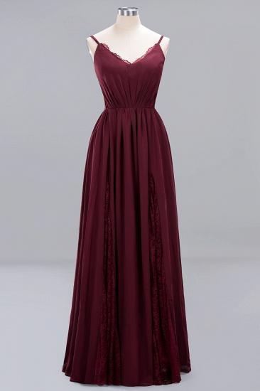 BMbridal Elegant Spaghetti Straps Long Bridesmaid Dress Lace V-Neck Maid of Honor Dress_54
