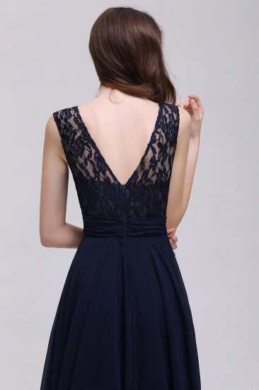 Vintage Lace Scoop Sleeveless Dark Blue Bridesmaid Dress with V-Back_7