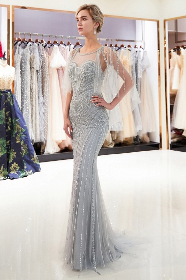 Affordable Mermaid Sweetheart Prom Dresses Illusion Neckline Sequins Beading Evening Dresses_2
