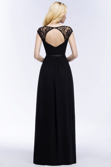 Elegant Lace Black V-Neck Sleeveless Bridesmaid Dress with Hollowout Back_3