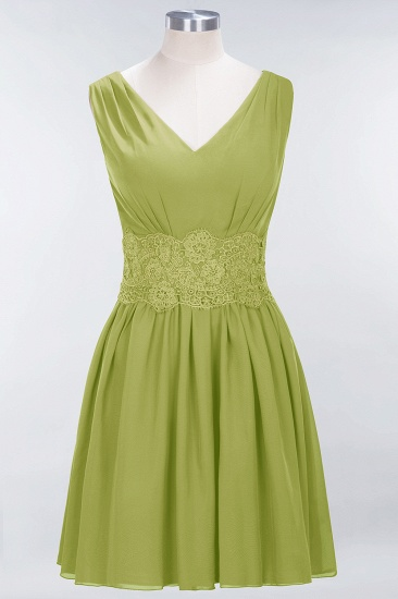 Pretty V-Neck Short Sleeveless Lace Bridesmaid Dresses Online_34