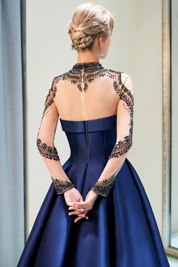 BMbridal Glamorous A-line Long Sleeves Prom Dresses Beading Neckline Satin Evening Gowns On Sale_7