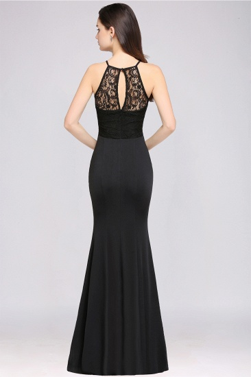 Affordable Mermaid Keyhole Black Lace Bridesmaid Dress Online_3