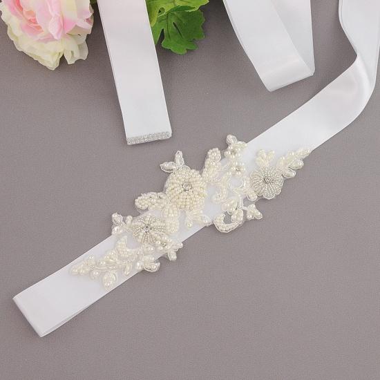 Beautiful Satin Flower Wedding Sash with Pearls_1