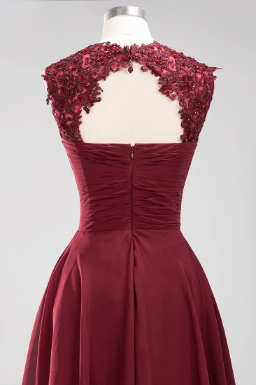 Cute Chiffon Round Neck Short Burgundy Bridesmaid Dresses with Appliques_57