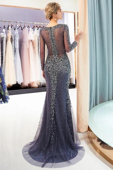 BMbridal Afordable Mermaid V-Neck Long Sleeves Prom Dresses Sparkly Beading Evening Dresses On Sale_4