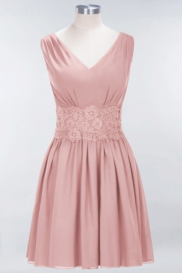 Pretty V-Neck Short Sleeveless Lace Bridesmaid Dresses Online_6