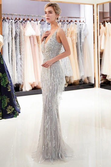 BMbridal Sexy Deep V-Neck Mermaid Silver Prom Sleeveless Sleeveless Crystals Formal Dresses with Tassels_6
