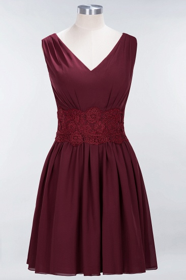Pretty V-Neck Short Sleeveless Lace Bridesmaid Dresses Online_53