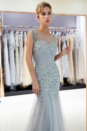 Elegant Mermaid Sleeveless Prom Dresses Flower Tulle Evening Dresses with Rhinestones_8
