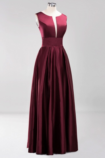 Vintage Deep-V-Neck Long Burgundy Bridesmaid Dress Online_6