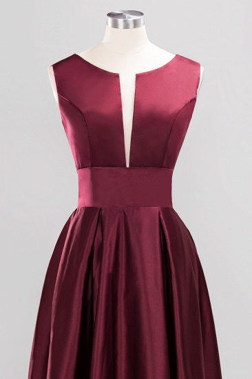 Vintage Deep-V-Neck Long Burgundy Bridesmaid Dress Online_7