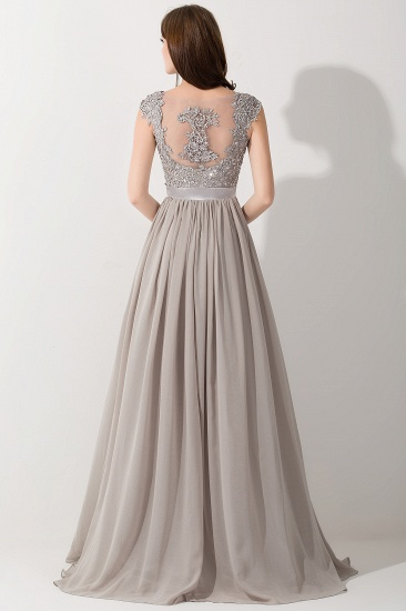 BMbridal Vintage Silver Sleeveless Long Bridesmaid Dress With Appliques_3