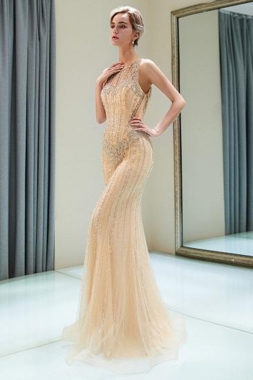GOrgeous Jewel Gold Mermaid Prom Dresses Sleeveless Evening Dresses with Rhinestones_4