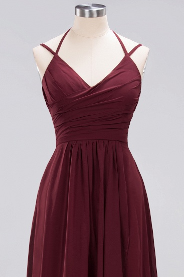 BMbridal Affordable Chiffon Burgundy Bridesmaid Dress With Spaghetti Straps_58