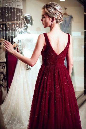 BMbridal Burgundy V-Neck Sequins Beadings Prom Dress Long Tulle Evening Gowns_3