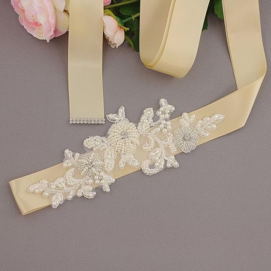 Beautiful Satin Flower Wedding Sash with Pearls_7