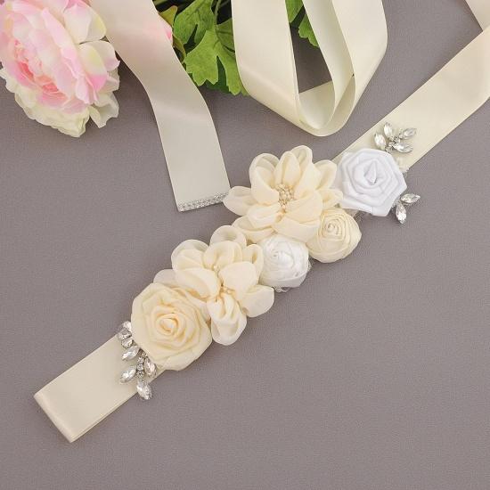 Fashion Chiffon Flowers Wedding Sash with Beadings_2