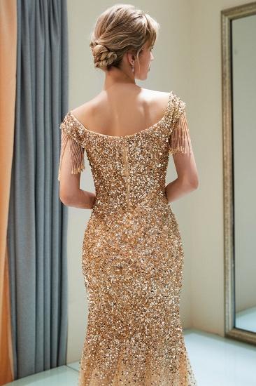 Elegant Mermaid Off-the-shoulder Prom Dresses V-neck Sequins Long Evening Dresses_13
