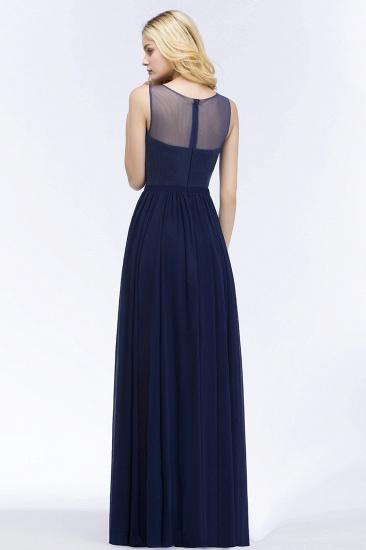 Chiffon Lace Appliques Affordable Navy Bridesmaid Dress Online_3