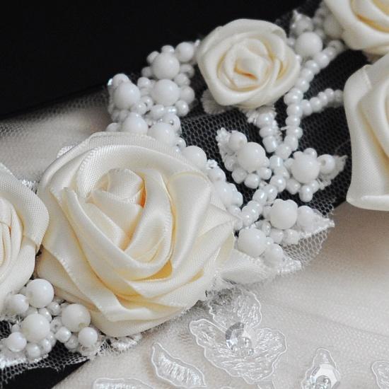 Elegant Satin Flowers Wedding Sash with Beadings_21