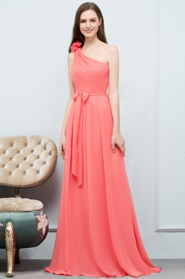 Chic One Shoulder Flower Long Bridesmaid Dresses with Bow Sash_1