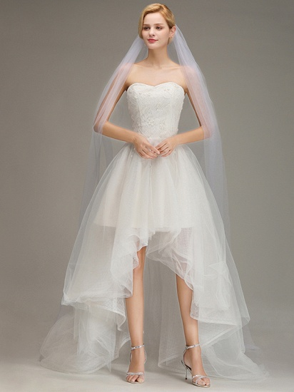 BMbridal One Layer Wedding Veil with Comb Appliqued Cathedral Length Bridal Veil_2