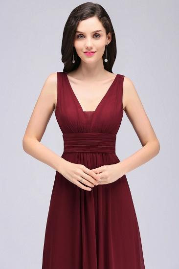 Modest Burgundy V-Neck Sleeveless Long Bridesmaid Dresses Cheap_5