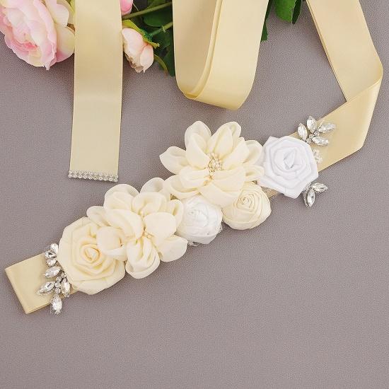 BMbridal Fashion Chiffon Flowers Wedding Sash with Beadings_7