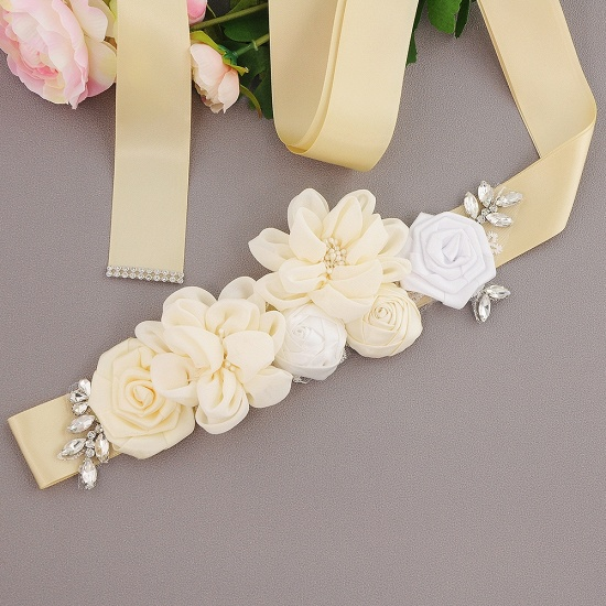 Fashion Chiffon Flowers Wedding Sash with Beadings_7