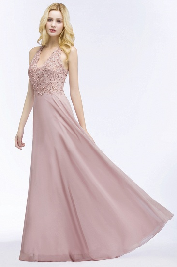 Chic Lace V-neck Pink Chiffon Bridesmaid Dress with Pearls_5
