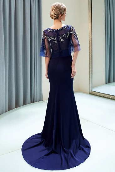 BMbridal Gorgeous Mermaid Jewel Long Prom Dresses Navy Beading Formal Dresses with Crystals_6