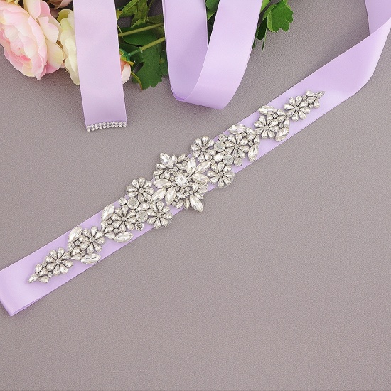BMbridal Satin Flowers Pattern Wedding Sash with Pearls_10