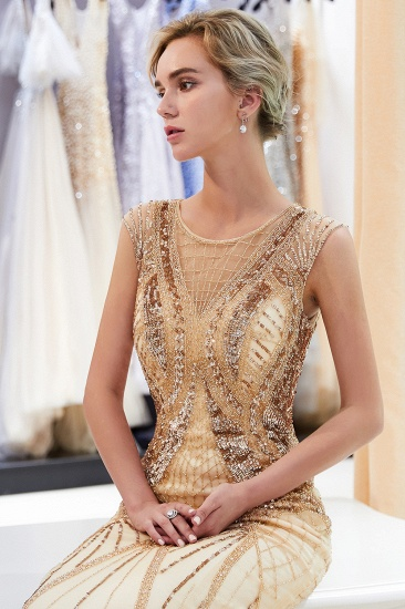 Affordable Mermaid Sleeveless Golden Sequins Beading Formal Party Dresses_8