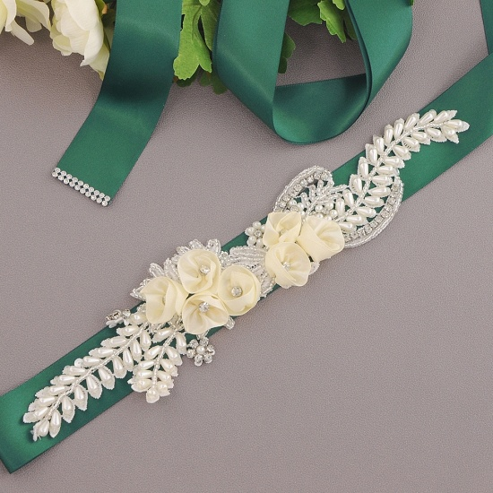BMbridal Handmade Flower Pearl Wedding Sash with Beadings_14
