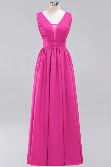 Modest Dark Green Long Bridesmaid Dress Deep V-Neck Chiffon Maid of Honor Dress_9