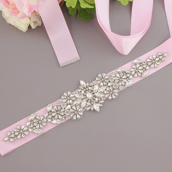 BMbridal Satin Flowers Pattern Wedding Sash with Pearls_3