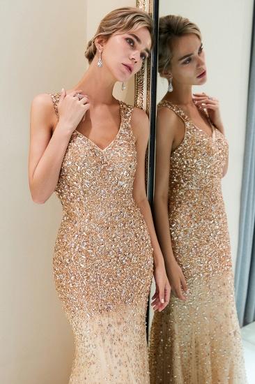 Glamorous V-Neck Rhinestones Prom Dress Long Mermaid Evening Gowns_8