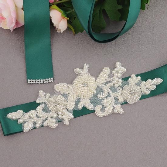 Beautiful Satin Flower Wedding Sash with Pearls_15