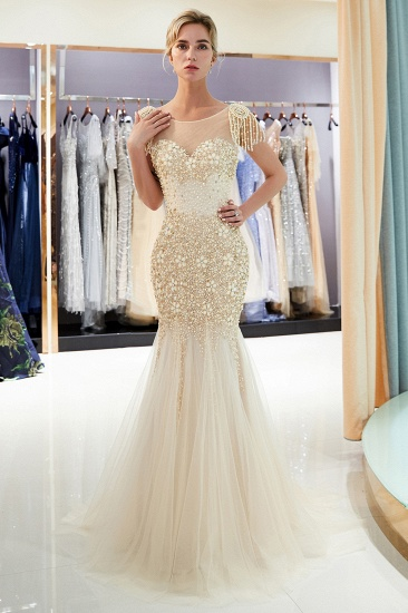 Elegant Mermaid Sleeveless Prom Dresses Flower Tulle Evening Dresses with Rhinestones_14