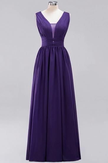 Modest Dark Green Long Bridesmaid Dress Deep V-Neck Chiffon Maid of Honor Dress_19