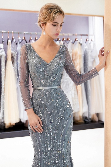 Chic Mermaid Long Sleeves Prom Dresses V-neck Sequins Evening Gowns with Sash_6
