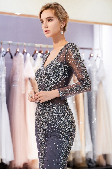 BMbridal Afordable Mermaid V-Neck Long Sleeves Prom Dresses Sparkly Beading Evening Dresses On Sale_8